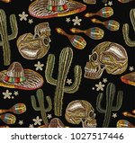 human skull and maracas  cactus.... | Shutterstock .eps vector #1027517446