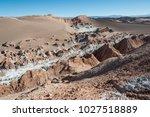 valle de la luna  moon valley ... | Shutterstock . vector #1027518889