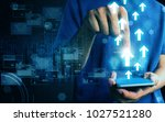 man press smart phone data | Shutterstock . vector #1027521280