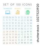set of 100 minimal modern... | Shutterstock .eps vector #1027523920
