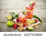 strawberry mojito cocktail | Shutterstock . vector #1027529800