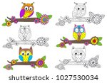 set of isolated funny owl on... | Shutterstock .eps vector #1027530034