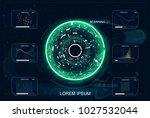 hud.radar screen. vector... | Shutterstock .eps vector #1027532044