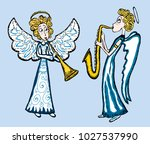 a couple of angels playing...   Shutterstock .eps vector #1027537990