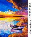 original oil painting. boat on... | Shutterstock . vector #1027539130