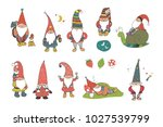 fairytale fantastic gnome dwarf ... | Shutterstock .eps vector #1027539799