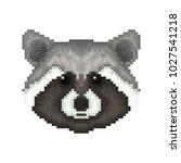 raccoon head in pixel art style.... | Shutterstock .eps vector #1027541218