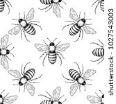 bee vector seamless pattern.... | Shutterstock .eps vector #1027543003