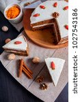 carrot cake with sugar...   Shutterstock . vector #1027543186