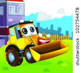 happy tractor - stock photo