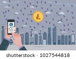 blockchain network concept with ... | Shutterstock .eps vector #1027544818