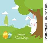 happy easter illustration. flat ... | Shutterstock .eps vector #1027545106