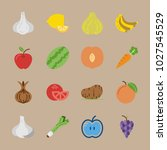 icons fruits and vegetables... | Shutterstock .eps vector #1027545529