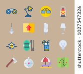 icons beach and camping with... | Shutterstock .eps vector #1027547326