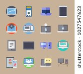 icons computer with settings ... | Shutterstock .eps vector #1027547623