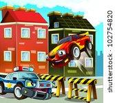 pursuit, speeding car, road block - stock photo
