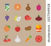 icons fruits and vegetables... | Shutterstock .eps vector #1027549918