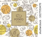background with potatoes and... | Shutterstock .eps vector #1027553470