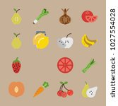 icons fruits and vegetables... | Shutterstock .eps vector #1027554028