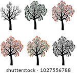 the set of trees the seasons | Shutterstock .eps vector #1027556788
