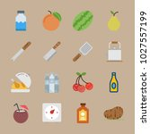 icons gastronomy with peach ... | Shutterstock .eps vector #1027557199