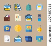 icons banking with credit cards ... | Shutterstock .eps vector #1027557358