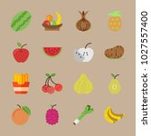 icons fruits and vegetables... | Shutterstock .eps vector #1027557400