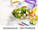healthy vegetarian salad ... | Shutterstock . vector #1027558618