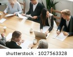 diverse multiracial business... | Shutterstock . vector #1027563328