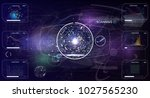 hud.radar screen. vector... | Shutterstock .eps vector #1027565230