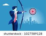 success. businessman aiming... | Shutterstock .eps vector #1027589128