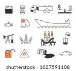 set of 15 oil production and... | Shutterstock .eps vector #1027591108