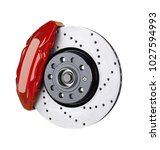 Car brake disc and red caliper isolated on white  - stock photo