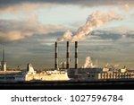 energy. smoke from chimney of... | Shutterstock . vector #1027596784