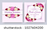 wedding invitation with flowers ... | Shutterstock .eps vector #1027604200