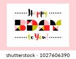 minimalistic happy birthday...   Shutterstock .eps vector #1027606390