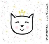 painted cute vector cat.... | Shutterstock .eps vector #1027606636