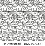 pattern with different animals  ... | Shutterstock .eps vector #1027607164