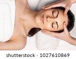 face massage.  close up of... | Shutterstock . vector #1027610869