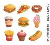 set of cartoon fast food.... | Shutterstock .eps vector #1027612930