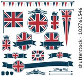 set of red and blue uk flags... | Shutterstock .eps vector #102761546