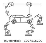 thin line style car assembly... | Shutterstock .eps vector #1027616200