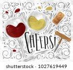 wine poster lettering cheers... | Shutterstock .eps vector #1027619449