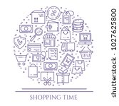 shopping banner with violet... | Shutterstock .eps vector #1027625800