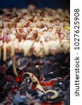 bbq meat prepare on fire  | Shutterstock . vector #1027625908