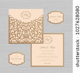 wedding invitation or greeting... | Shutterstock .eps vector #1027628080