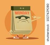 sleepy tired calendar character.... | Shutterstock .eps vector #1027629280