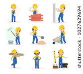 builder vector cartoon... | Shutterstock .eps vector #1027629694
