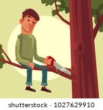 do not cut branch you sitting... | Shutterstock .eps vector #1027629910