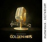 golden  old vintage microphone ... | Shutterstock .eps vector #1027630189